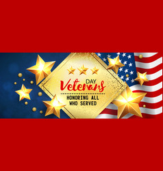 Veterans day greeting card horizontal banner with vector