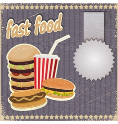 Vintage background with the image of fast food vector image
