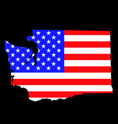 washington state map with american national flag vector image