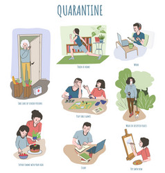 ways to spend time in quarantine covid-19 vector image