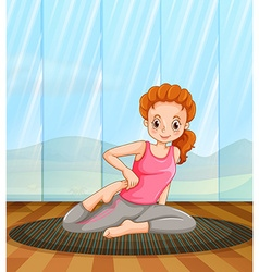 Woman doing yoga in the room vector image