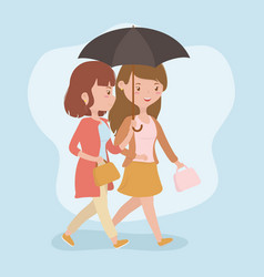 young women walking with umbrella avatars vector image