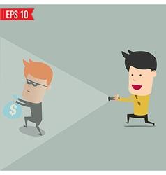 Businessman use flashlight find thief steal idea vector image