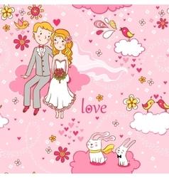 Cartoon romantic seamless pattern in vector image