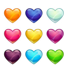 colorful glossy hearts collection vector image vector image
