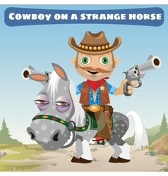 Cowboy rider on a strange horse vector image vector image