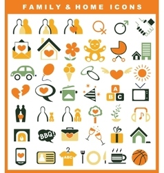 family and home icons set vector image