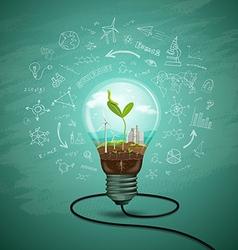 Green seedlings in a light bulb ecology vector image