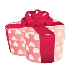Heart shaped pink gift box vector image vector image