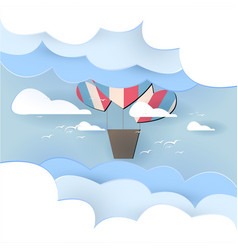 Paper art balloon in the sky background vector