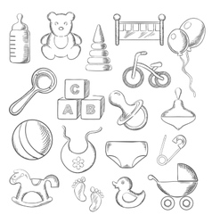 Baby childhood and childish sketched icons vector image