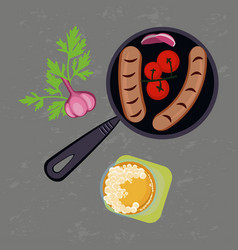 grilled sausages and glass of beer vector image