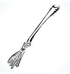 hand drawn broom isolated on white background vector image vector image