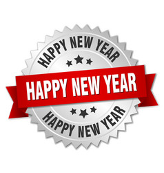 happy new year 3d silver badge with red ribbon vector image vector image