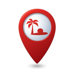 Map pointer with tropical beach icon vector image vector image