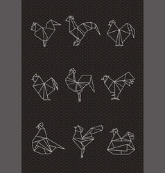Set of polygonal poultry vector