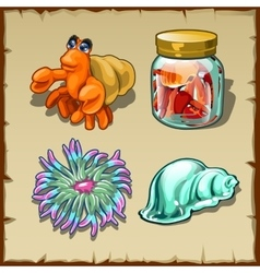 Funny marine inhabitants set of four items vector image vector image