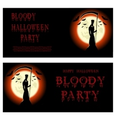 Halloween banner Death and scary scythe vector image