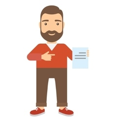 Man points finger at document vector image vector image