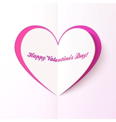 Pink cutout heart Valentines day greeting card vector image vector image