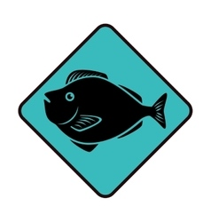 sea fish emblem icon vector image vector image