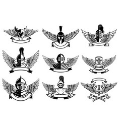 set of emblems with helmets and wings design vector image vector image