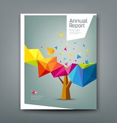 Cover report tree colorful geometric with bird vector image