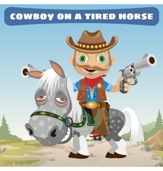 Cowboy rider on a tired horse vector image vector image