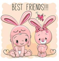 cute cartoon baby and bunny vector image vector image