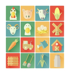 flat icons FARM vector image vector image