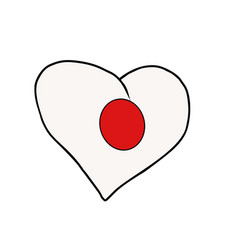 japan isolated heart flag on white background vector image