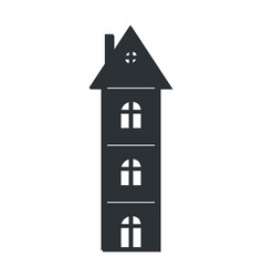 multi storey house black silhouette isolated icon vector image vector image