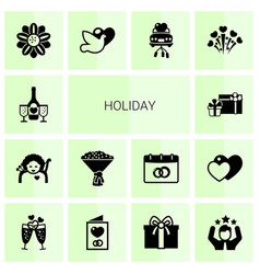 14 holiday filled icons set isolated on white vector image