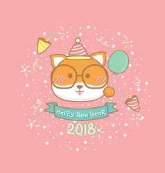2018 happy dog year greeting card vector