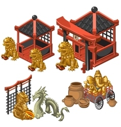 Architecture deities and decor in Asian style vector