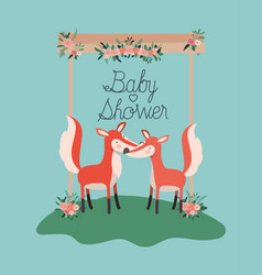 baby shower card with cute foxes couple vector image