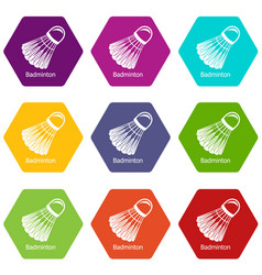 badminton icons set 9 vector image