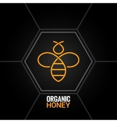 Bee logo on honeycomb background vector