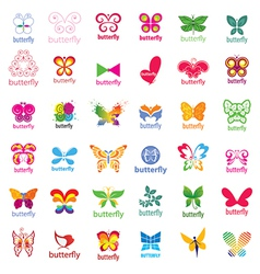 Biggest collection of logos butterflies vector