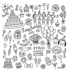 birthday party coloring icons for your design vector image