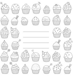 Black and white greeting card or cupcakes cover vector