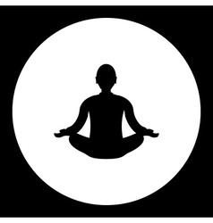 Black meditation of man silhouette simple isolated vector