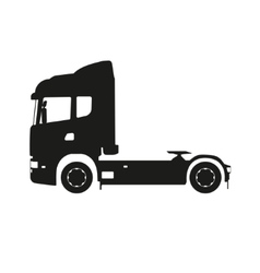 Black silhouette of a tractor truck vector