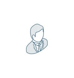 Businessman avatar isometric icon 3d line art vector
