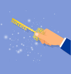 businessman hand holding key of success vector image