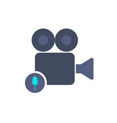 cam camera film movie record sound voice icon vector image