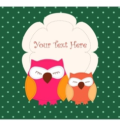 Card with sleeping owls vector image