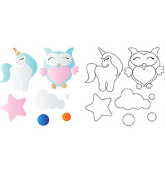 cartoon cute toy owl unicorn cloud and star vector image
