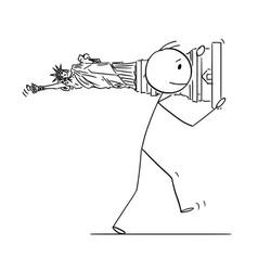 cartoon of man or politician carrying liberty vector image