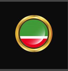 Chechen republic flag golden button vector